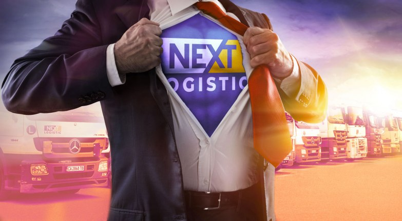 Superhero bussiness man with Nextlogistic logo under his shirt